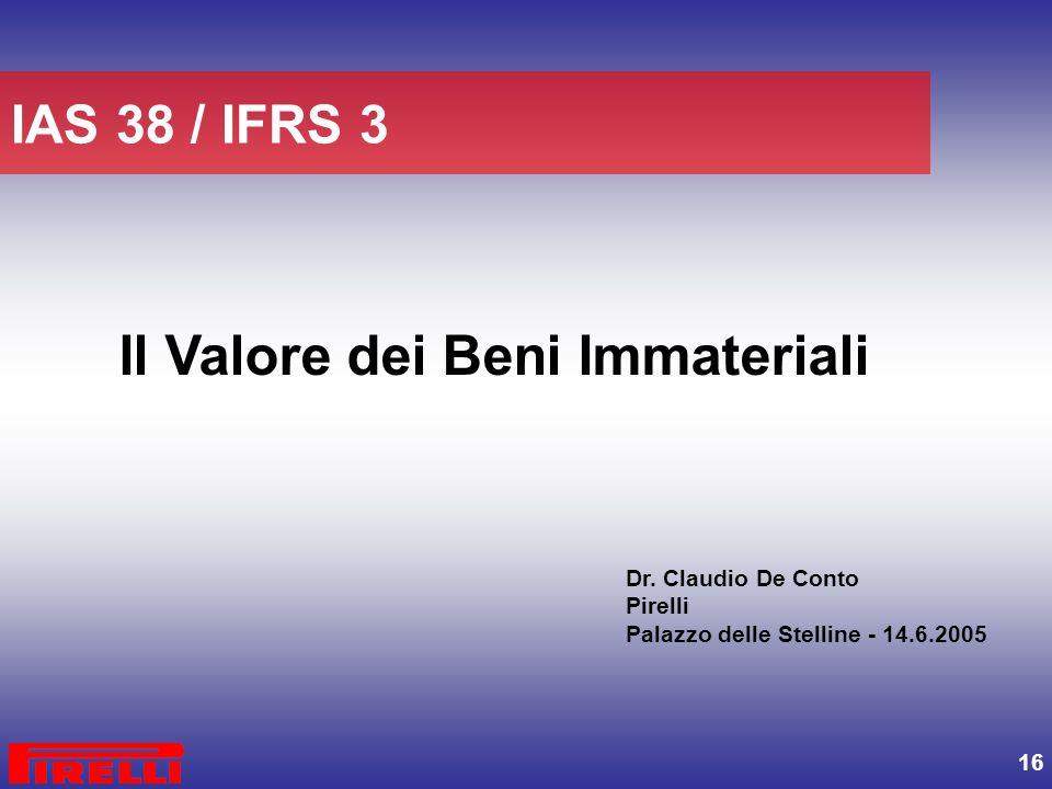 16 Il Valore dei Beni Immateriali IAS 38 / IFRS 3 Dr. Claudio De Conto Pirelli Palazzo delle Stelline - 14.6.2005