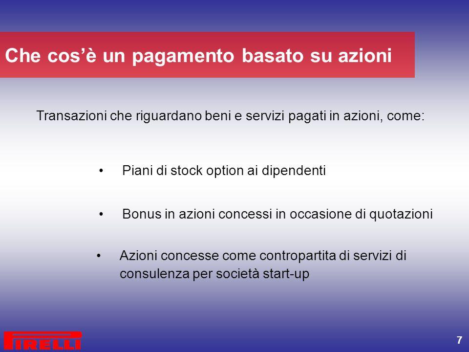 7 Transazioni che riguardano beni e servizi pagati in azioni, come: Bonus in azioni concessi in occasione di quotazioni Azioni concesse come contropar