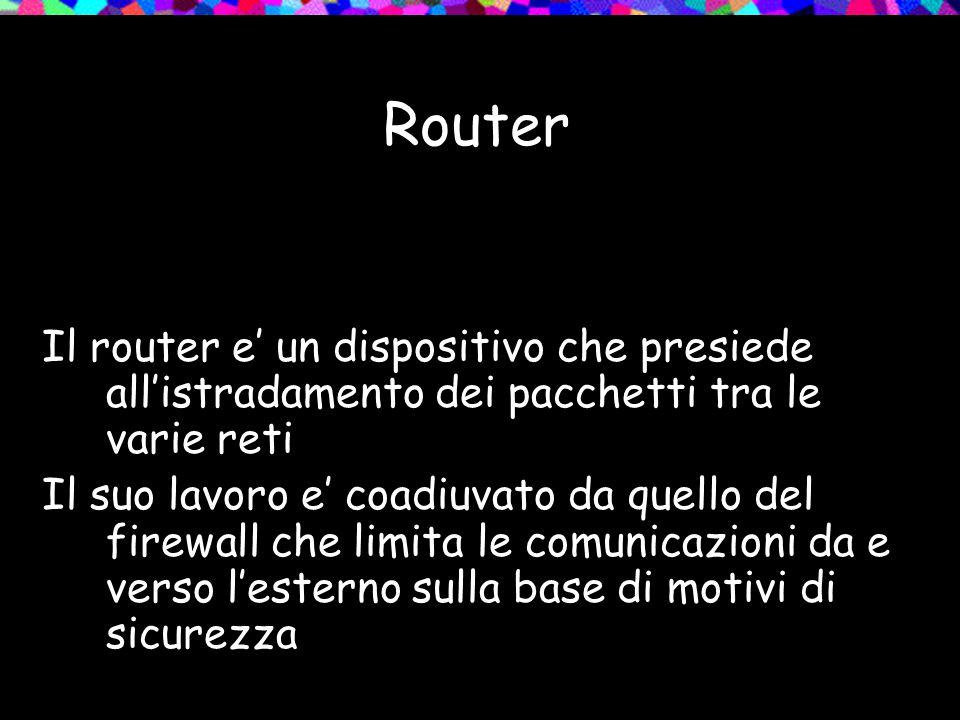 Router Il router e' un dispositivo che presiede all'istradamento dei pacchetti tra le varie reti Il suo lavoro e' coadiuvato da quello del firewall che limita le comunicazioni da e verso l'esterno sulla base di motivi di sicurezza