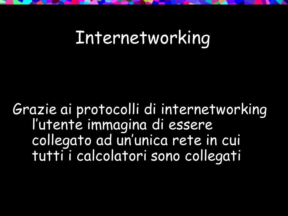 Internetworking Grazie ai protocolli di internetworking l'utente immagina di essere collegato ad un'unica rete in cui tutti i calcolatori sono collegati