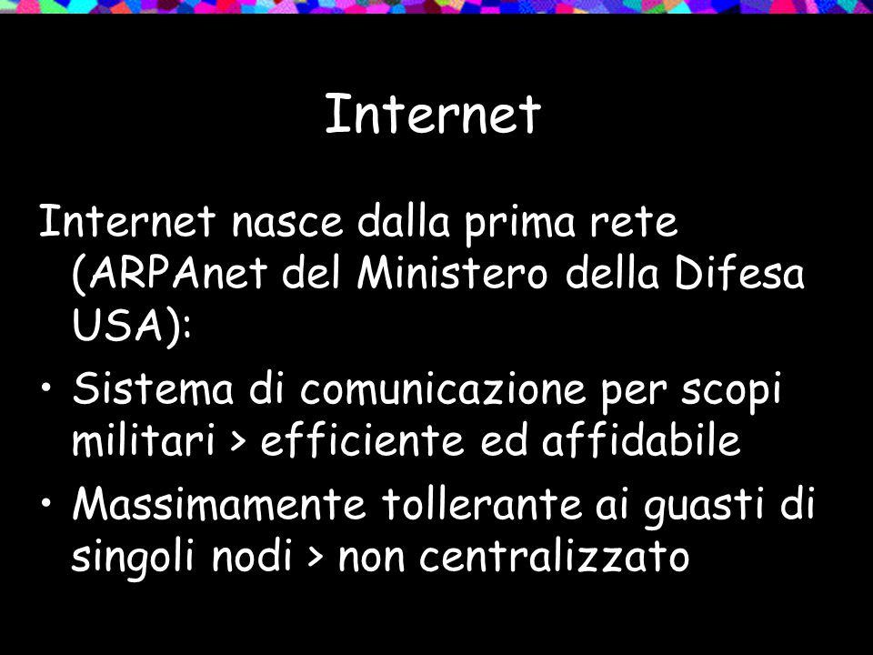 Internet Internet nasce dalla prima rete (ARPAnet del Ministero della Difesa USA): Sistema di comunicazione per scopi militari > efficiente ed affidabile Massimamente tollerante ai guasti di singoli nodi > non centralizzato