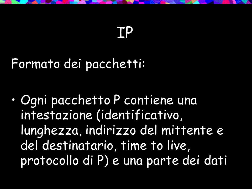 IP Formato dei pacchetti: Ogni pacchetto P contiene una intestazione (identificativo, lunghezza, indirizzo del mittente e del destinatario, time to live, protocollo di P) e una parte dei dati