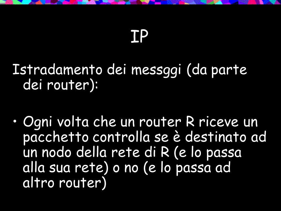 IP Istradamento dei messggi (da parte dei router): Ogni volta che un router R riceve un pacchetto controlla se è destinato ad un nodo della rete di R (e lo passa alla sua rete) o no (e lo passa ad altro router)