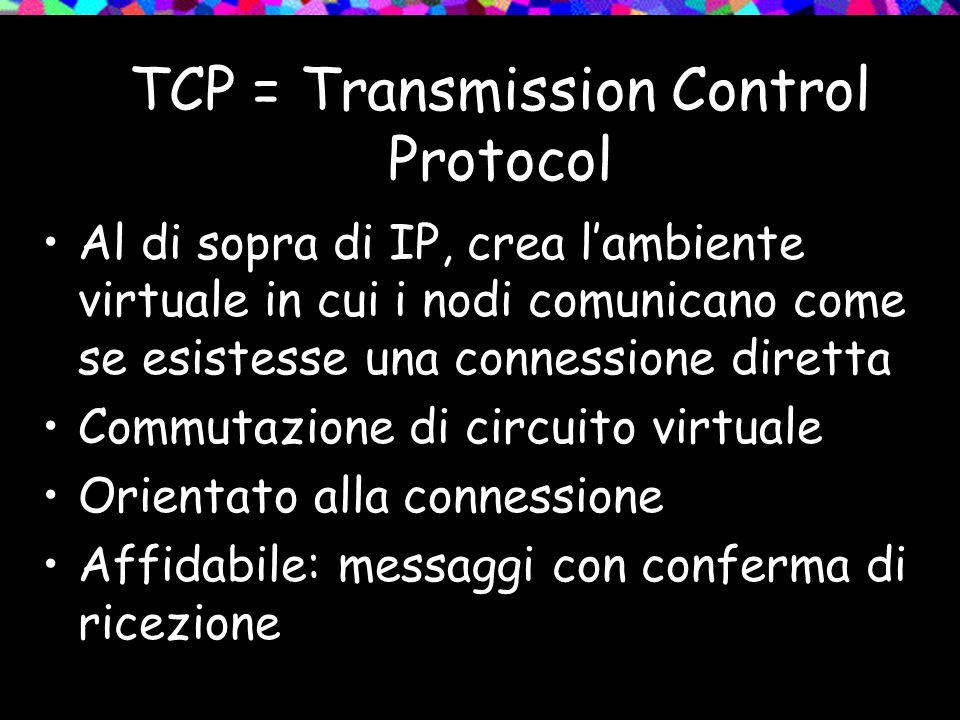 TCP = Transmission Control Protocol Al di sopra di IP, crea l'ambiente virtuale in cui i nodi comunicano come se esistesse una connessione diretta Commutazione di circuito virtuale Orientato alla connessione Affidabile: messaggi con conferma di ricezione