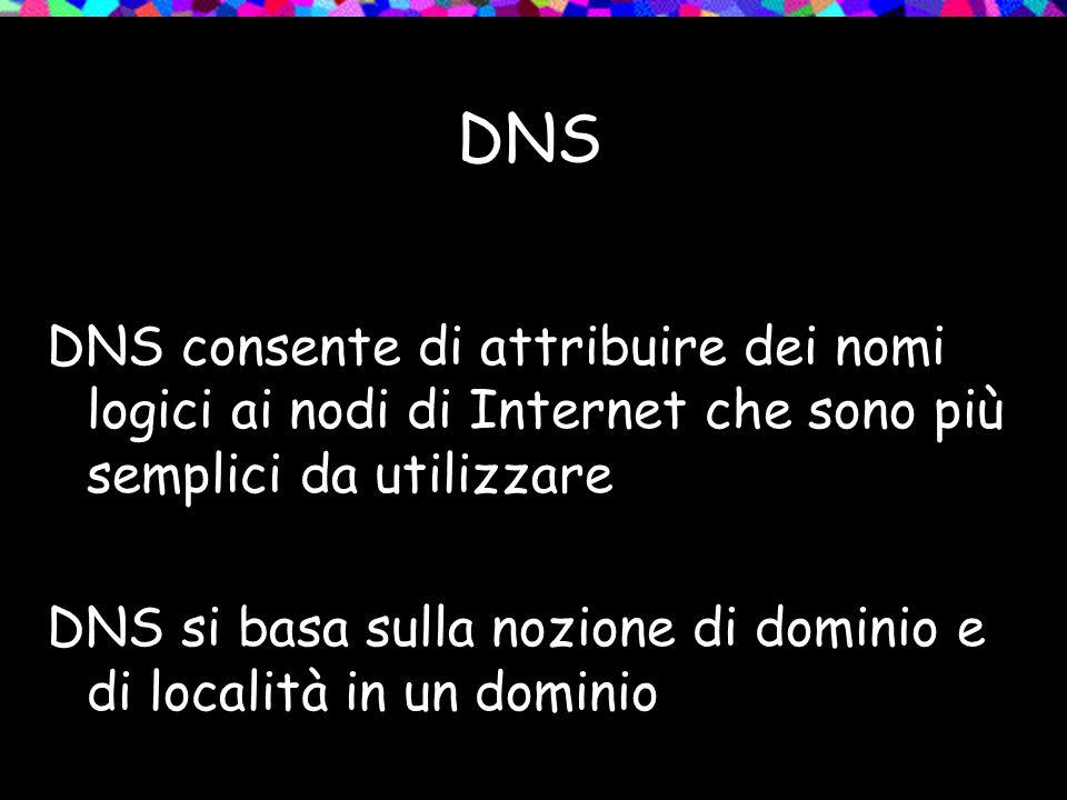 DNS DNS consente di attribuire dei nomi logici ai nodi di Internet che sono più semplici da utilizzare DNS si basa sulla nozione di dominio e di località in un dominio
