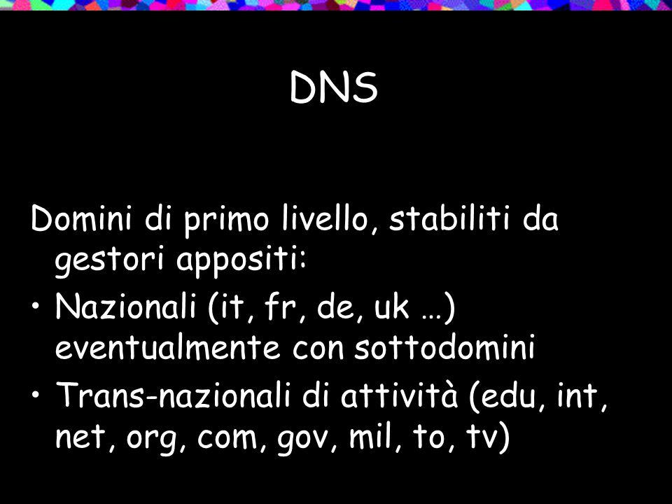 DNS Domini di primo livello, stabiliti da gestori appositi: Nazionali (it, fr, de, uk …) eventualmente con sottodomini Trans-nazionali di attività (edu, int, net, org, com, gov, mil, to, tv)