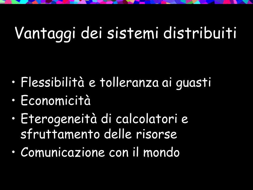 Vantaggi dei sistemi distribuiti Flessibilità e tolleranza ai guasti Economicità Eterogeneità di calcolatori e sfruttamento delle risorse Comunicazione con il mondo