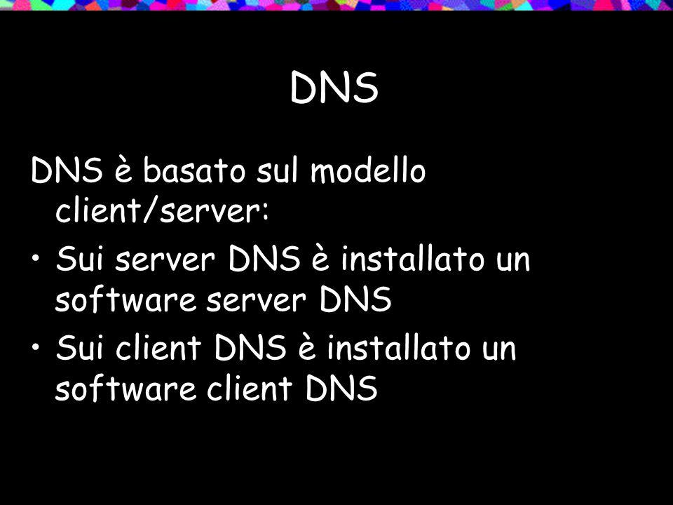 DNS DNS è basato sul modello client/server: Sui server DNS è installato un software server DNS Sui client DNS è installato un software client DNS