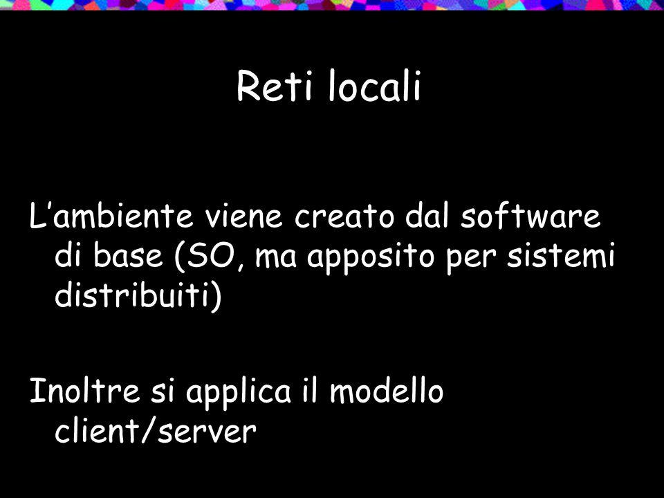 Reti locali L'ambiente viene creato dal software di base (SO, ma apposito per sistemi distribuiti) Inoltre si applica il modello client/server