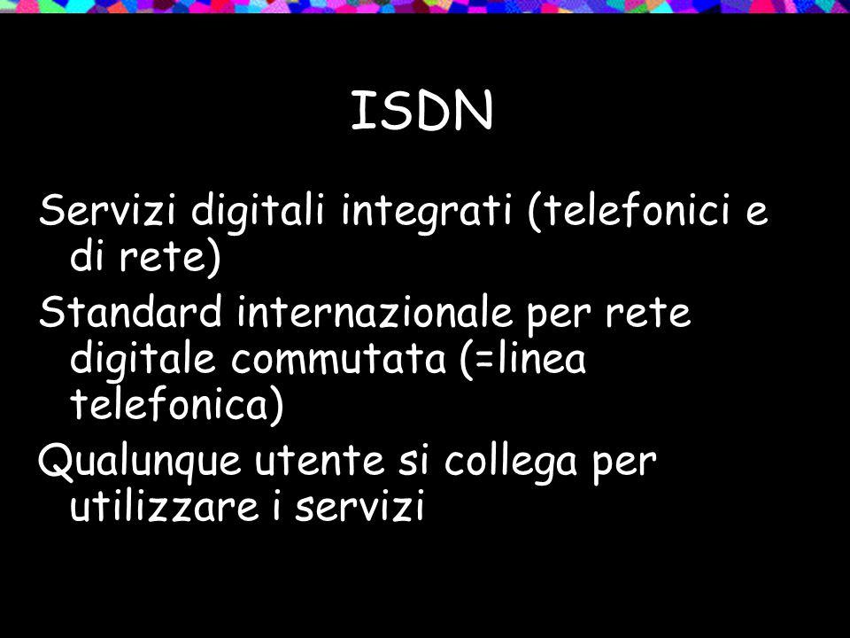 ISDN Servizi digitali integrati (telefonici e di rete) Standard internazionale per rete digitale commutata (=linea telefonica) Qualunque utente si collega per utilizzare i servizi