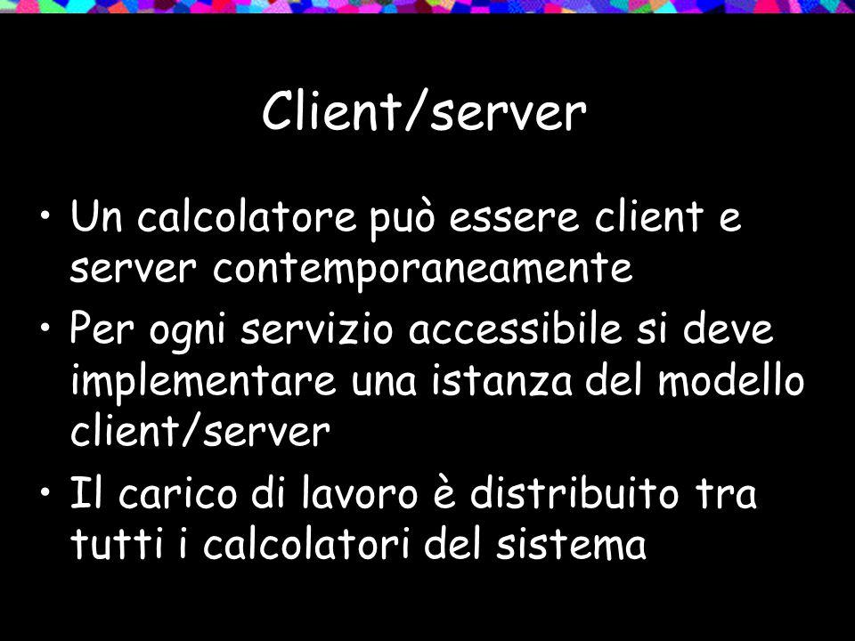 Client/server Un calcolatore può essere client e server contemporaneamente Per ogni servizio accessibile si deve implementare una istanza del modello client/server Il carico di lavoro è distribuito tra tutti i calcolatori del sistema