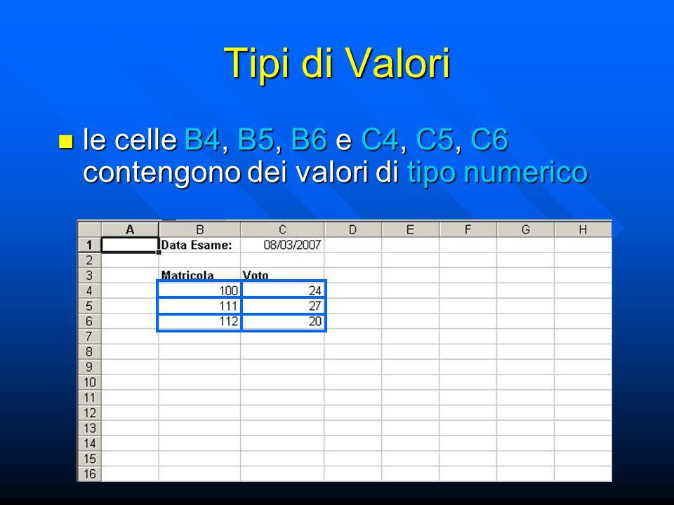 Tipi di Valori le celle B4, B5, B6 e C4, C5, C6 contengono dei valori di tipo numerico le celle B4, B5, B6 e C4, C5, C6 contengono dei valori di tipo