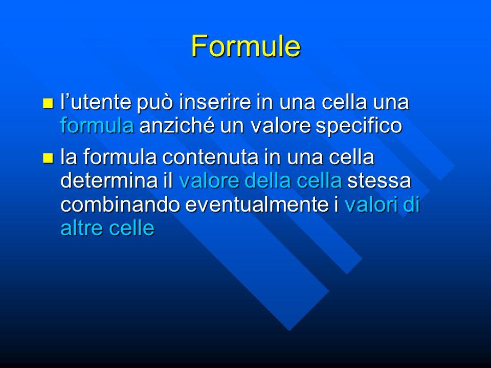 Formule l'utente può inserire in una cella una formula anziché un valore specifico l'utente può inserire in una cella una formula anziché un valore sp