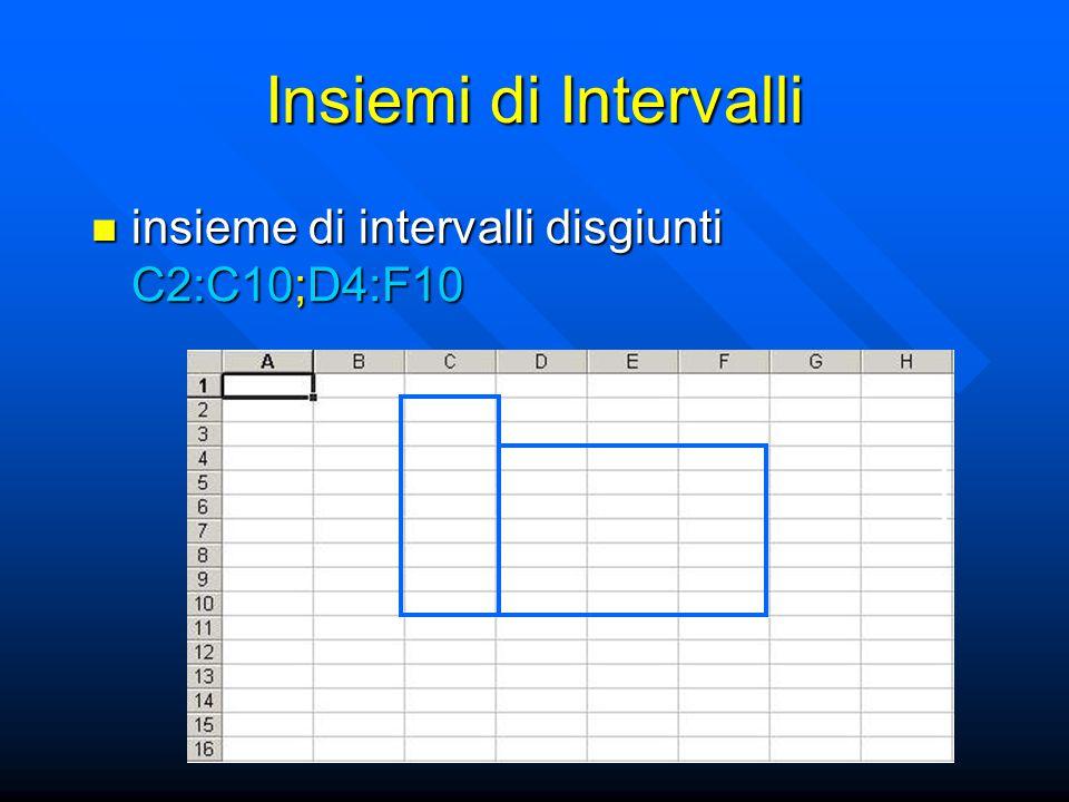 Insiemi di Intervalli insieme di intervalli disgiunti C2:C10;D4:F10 insieme di intervalli disgiunti C2:C10;D4:F10