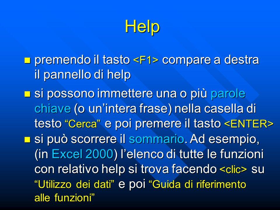 Help premendo il tasto compare a destra il pannello di help premendo il tasto compare a destra il pannello di help si possono immettere una o più paro