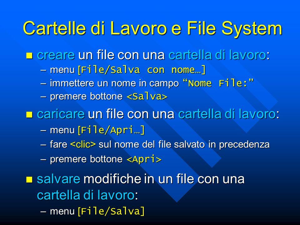 salvare modifiche in un file con una cartella di lavoro: salvare modifiche in un file con una cartella di lavoro: –menu [ File/Salva] caricare un file