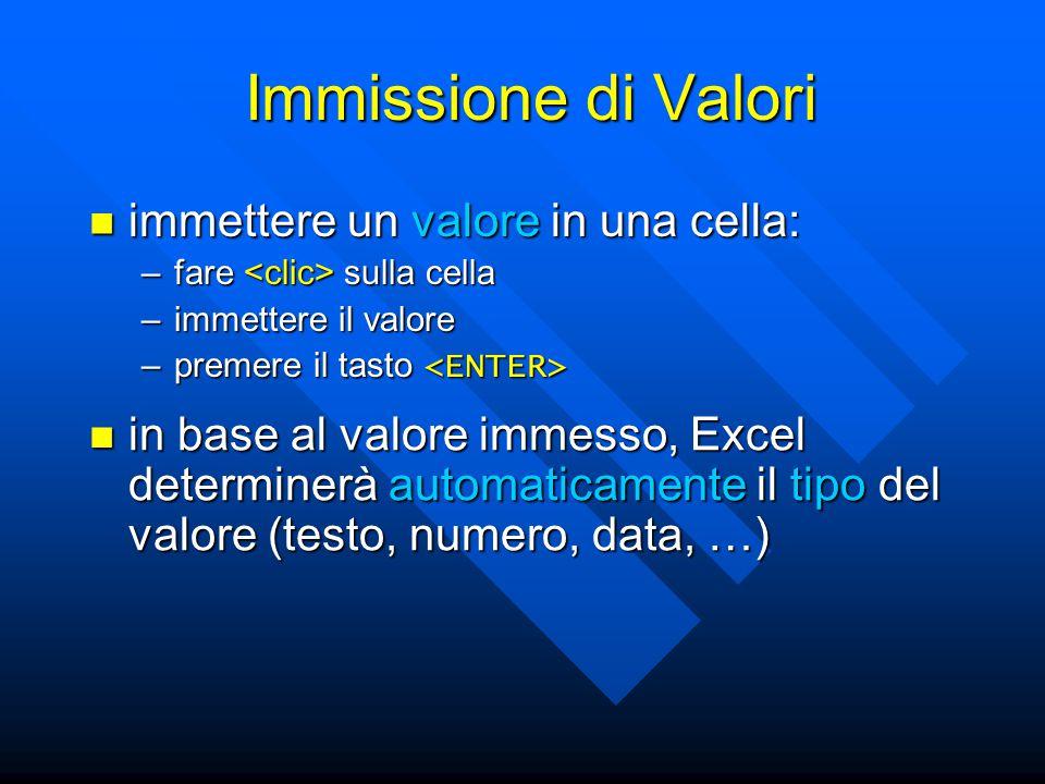 Immissione di Valori immettere un valore in una cella: immettere un valore in una cella: –fare sulla cella –immettere il valore –premere il tasto –pre