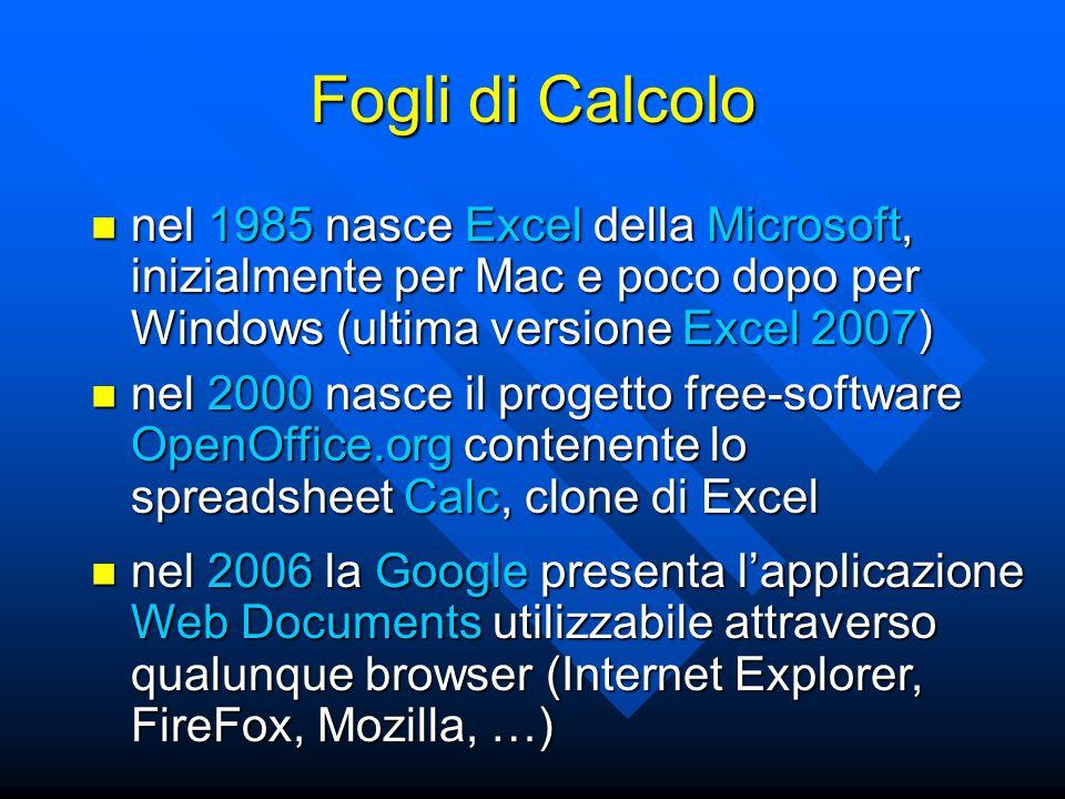 Fogli di Calcolo nel 1985 nasce Excel della Microsoft, inizialmente per Mac e poco dopo per Windows (ultima versione Excel 2007) nel 1985 nasce Excel