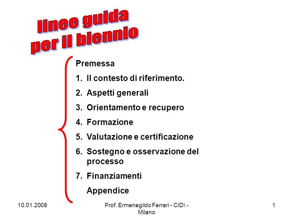 10.01.2008Prof. Ermenegildo Ferrari - CIDI - Milano 1 Premessa 1.Il contesto di riferimento. 2.Aspetti generali 3.Orientamento e recupero 4.Formazione