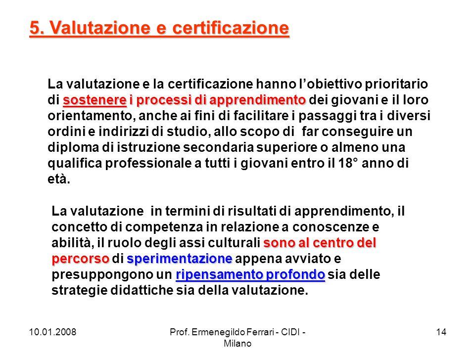 10.01.2008Prof. Ermenegildo Ferrari - CIDI - Milano 14 sostenere i processi di apprendimento La valutazione e la certificazione hanno l'obiettivo prio