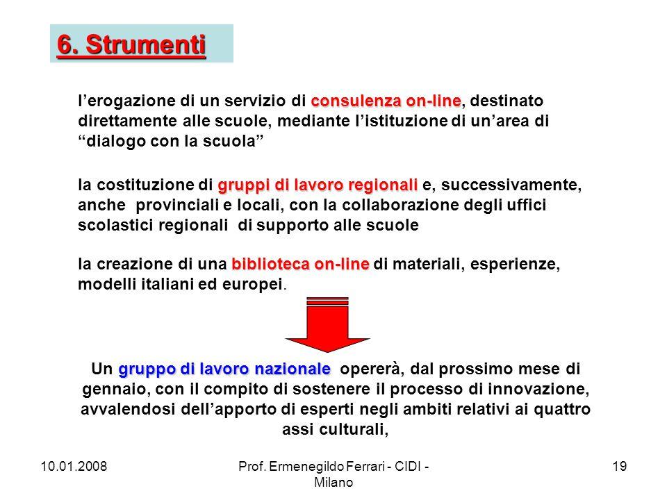 10.01.2008Prof. Ermenegildo Ferrari - CIDI - Milano 19 6.