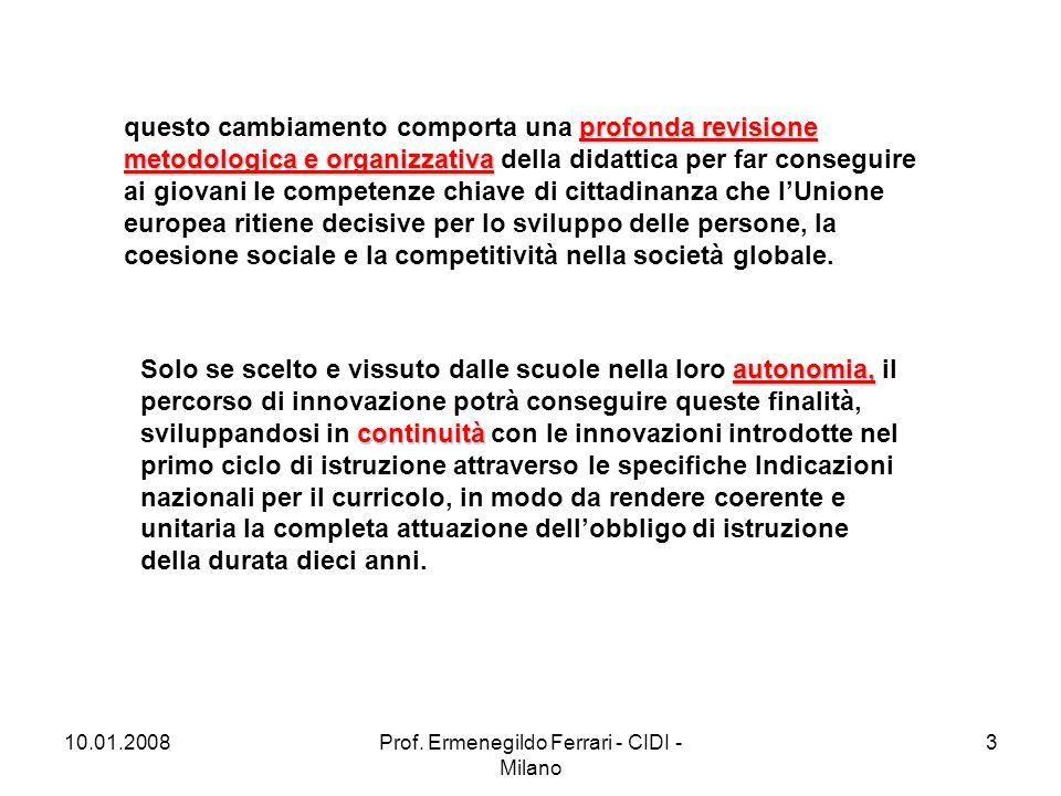 10.01.2008Prof. Ermenegildo Ferrari - CIDI - Milano 3 profonda revisione metodologica e organizzativa questo cambiamento comporta una profonda revisio