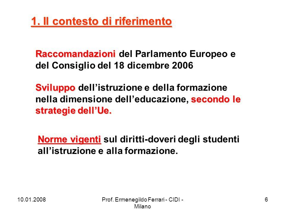10.01.2008Prof. Ermenegildo Ferrari - CIDI - Milano 6 1. Il contesto di riferimento Raccomandazioni Raccomandazioni del Parlamento Europeo e del Consi