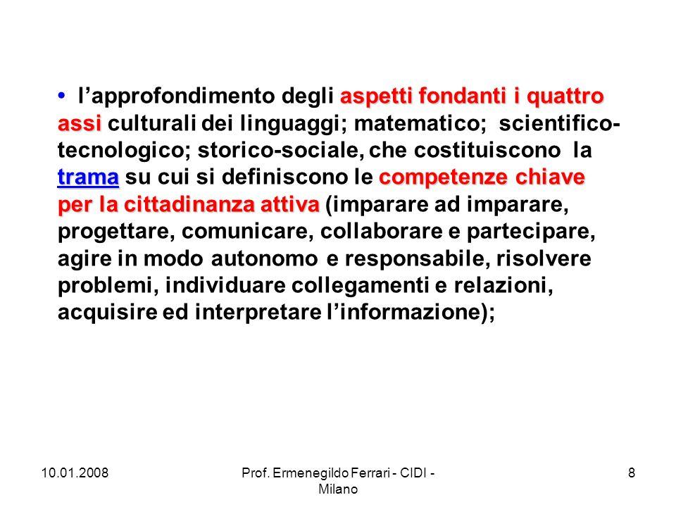 10.01.2008Prof.Ermenegildo Ferrari - CIDI - Milano 19 6.
