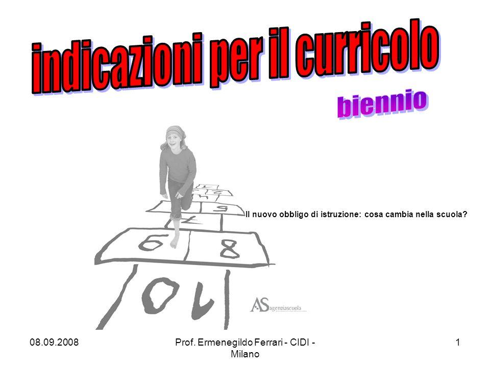 08.09.2008Prof. Ermenegildo Ferrari - CIDI - Milano 1 Il nuovo obbligo di istruzione: cosa cambia nella scuola?