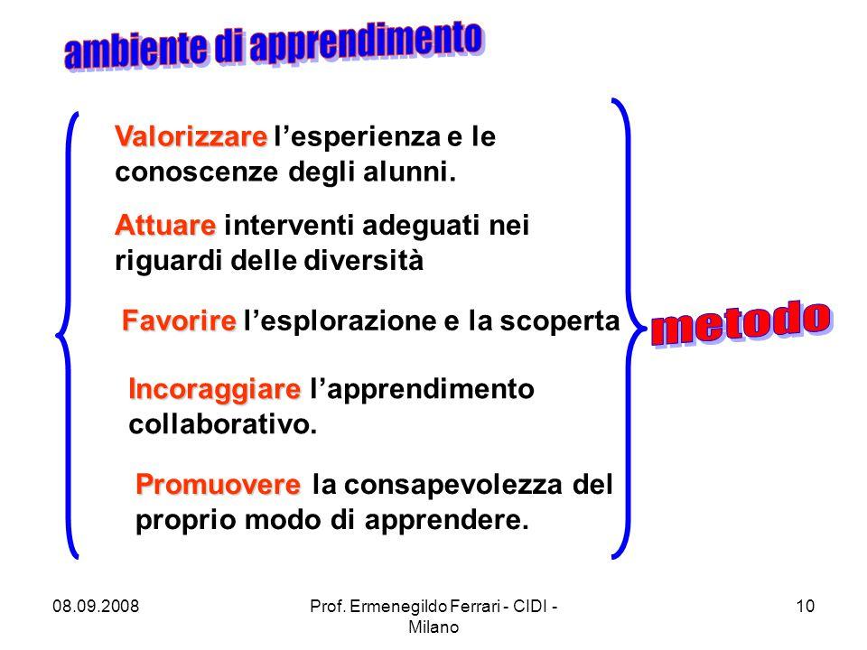 08.09.2008Prof. Ermenegildo Ferrari - CIDI - Milano 10 Valorizzare Valorizzare l'esperienza e le conoscenze degli alunni. Attuare Attuare interventi a