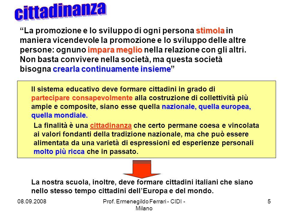 08.09.2008Prof. Ermenegildo Ferrari - CIDI - Milano 5 Il sistema educativo deve formare cittadini in grado di partecipare consapevolmente partecipare