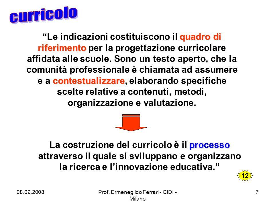 """08.09.2008Prof. Ermenegildo Ferrari - CIDI - Milano 7 quadro di riferimento contestualizzare """"Le indicazioni costituiscono il quadro di riferimento pe"""