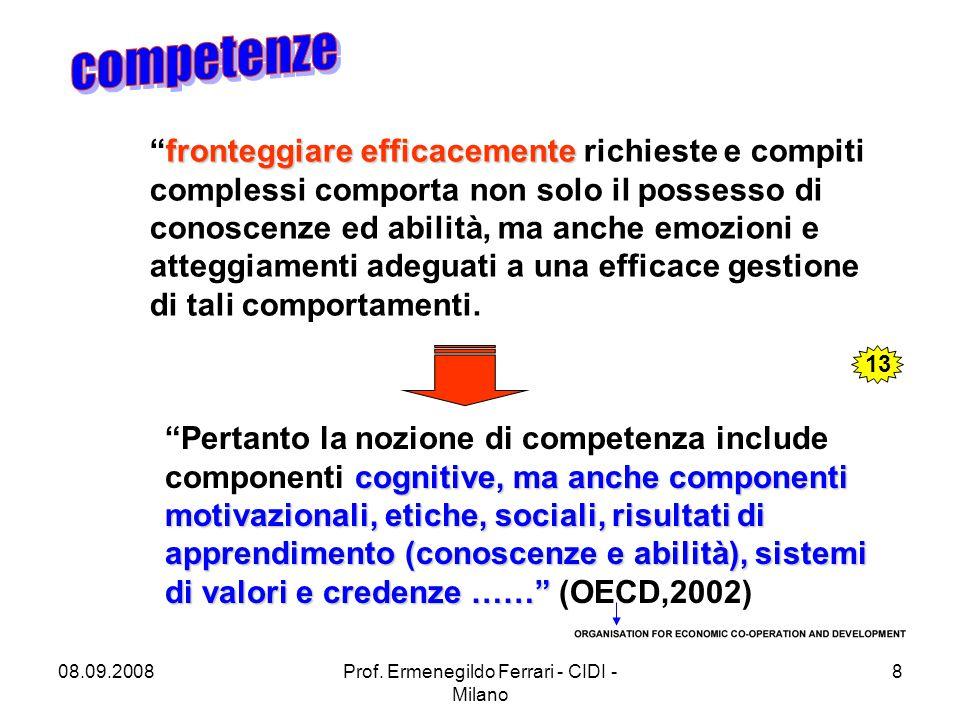 """08.09.2008Prof. Ermenegildo Ferrari - CIDI - Milano 8 fronteggiare efficacemente """"fronteggiare efficacemente richieste e compiti complessi comporta no"""