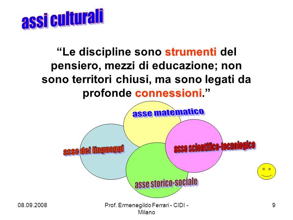 """08.09.2008Prof. Ermenegildo Ferrari - CIDI - Milano 9 strumenti connessioni """"Le discipline sono strumenti del pensiero, mezzi di educazione; non sono"""
