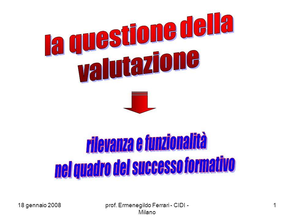 18 gennaio 2008prof. Ermenegildo Ferrari - CIDI - Milano 1