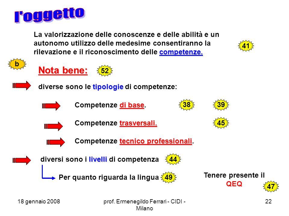 18 gennaio 2008prof.Ermenegildo Ferrari - CIDI - Milano 22 competenze.