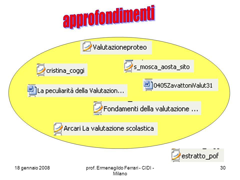 18 gennaio 2008prof. Ermenegildo Ferrari - CIDI - Milano 30