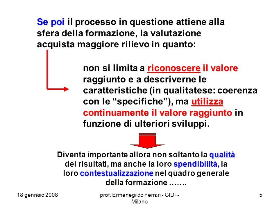 18 gennaio 2008prof. Ermenegildo Ferrari - CIDI - Milano 56