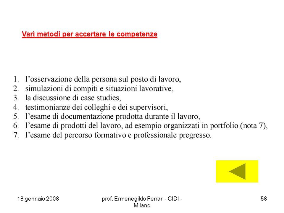 18 gennaio 2008prof. Ermenegildo Ferrari - CIDI - Milano 58 Vari metodi per accertare le competenze