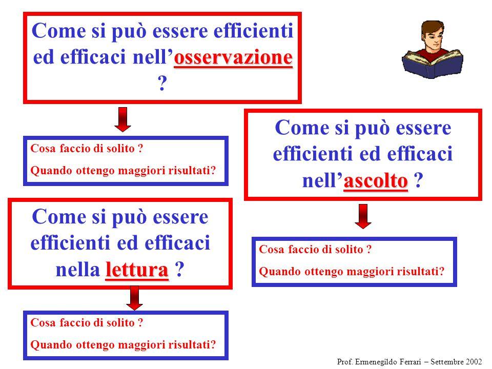 osservazione Come si può essere efficienti ed efficaci nell'osservazione .