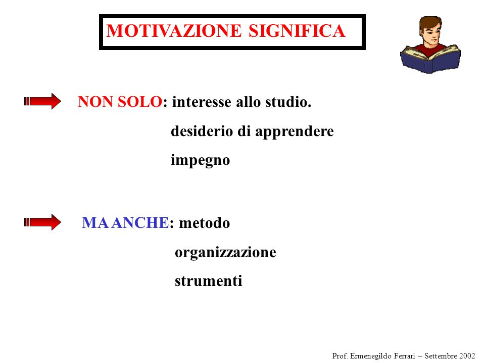 MOTIVAZIONE SIGNIFICA NON SOLO: interesse allo studio.