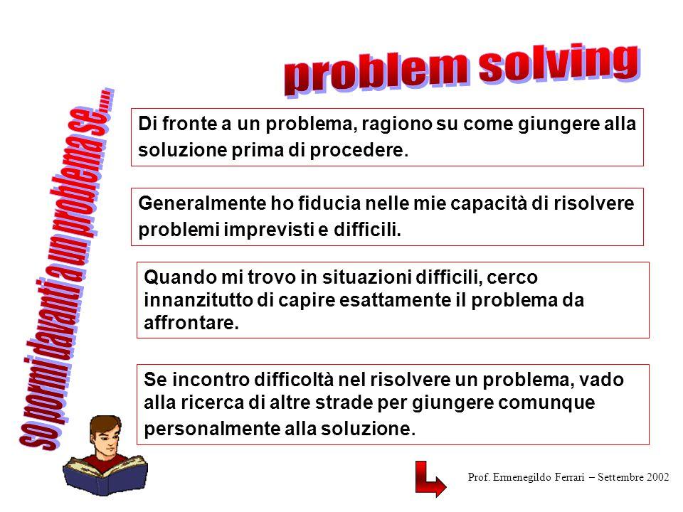Di fronte a un problema, ragiono su come giungere alla soluzione prima di procedere.
