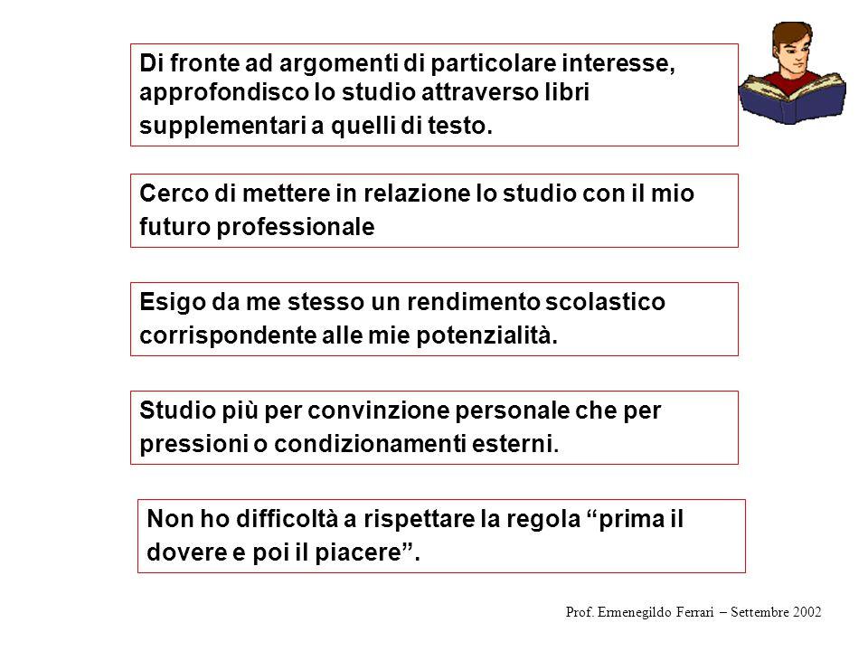 Dai dati quale immagine della classe? Prof. Ermenegildo Ferrari – Settembre 2002