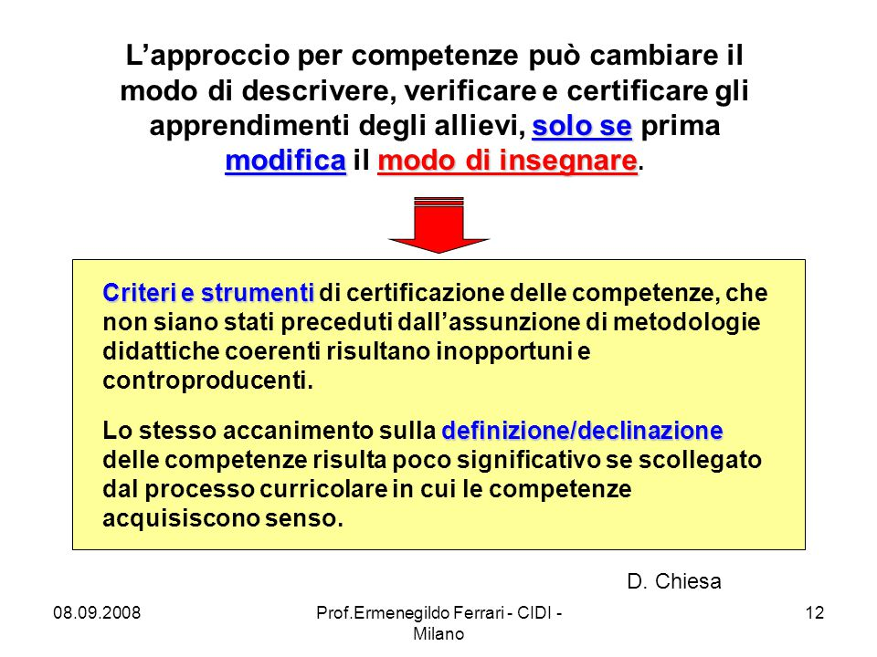 08.09.2008Prof.Ermenegildo Ferrari - CIDI - Milano 12 solo se modificamodo di insegnare L'approccio per competenze può cambiare il modo di descrivere,