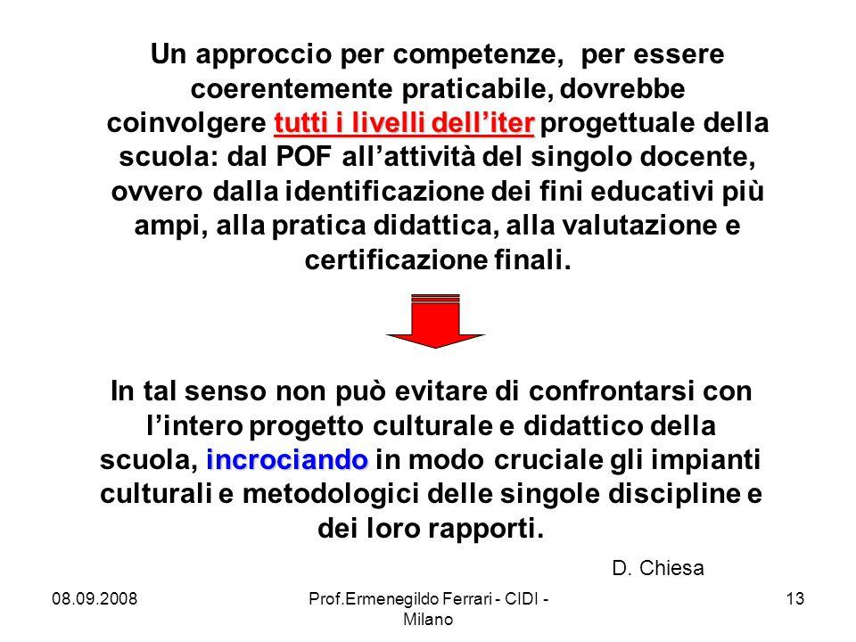08.09.2008Prof.Ermenegildo Ferrari - CIDI - Milano 13 D.