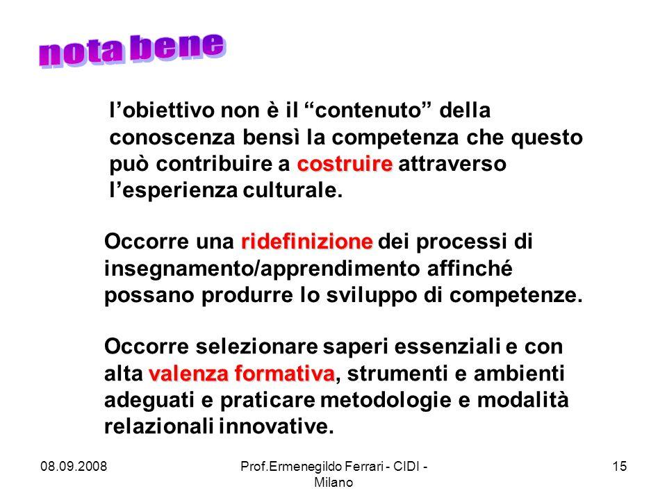 08.09.2008Prof.Ermenegildo Ferrari - CIDI - Milano 15 ridefinizione Occorre una ridefinizione dei processi di insegnamento/apprendimento affinché possano produrre lo sviluppo di competenze.