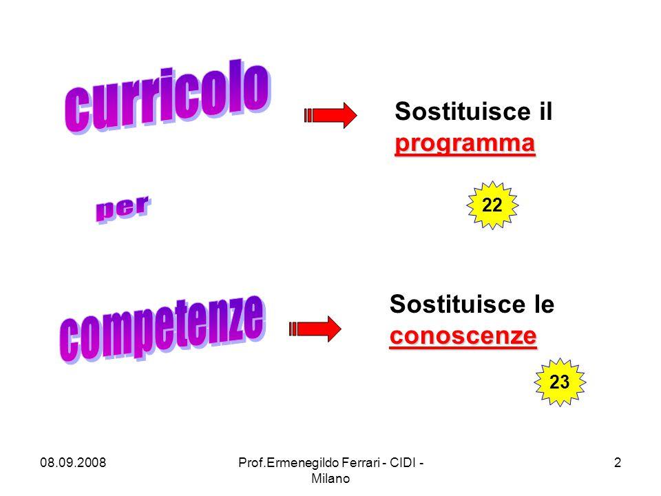 08.09.2008Prof.Ermenegildo Ferrari - CIDI - Milano 2 programma Sostituisce il programma conoscenze Sostituisce le conoscenze 22 23