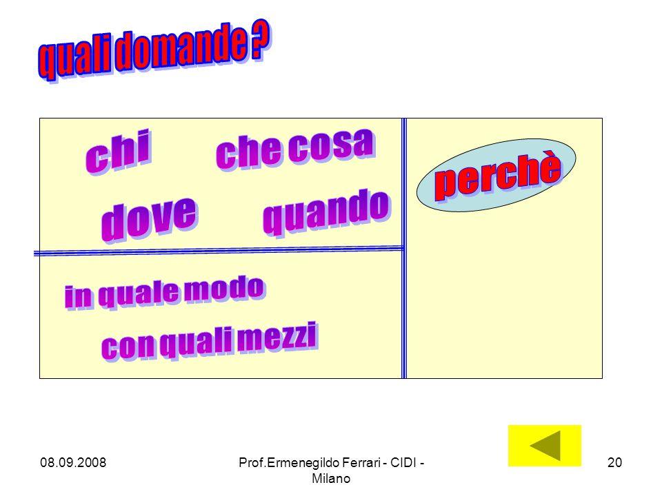 08.09.2008Prof.Ermenegildo Ferrari - CIDI - Milano 20