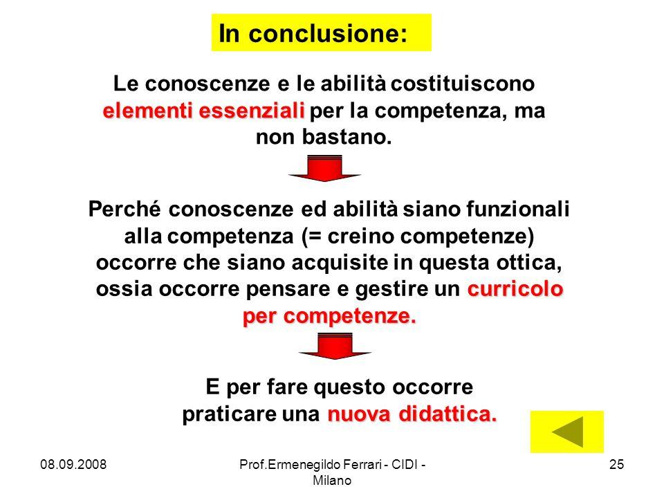 08.09.2008Prof.Ermenegildo Ferrari - CIDI - Milano 25 In conclusione: elementi essenziali Le conoscenze e le abilità costituiscono elementi essenziali per la competenza, ma non bastano.