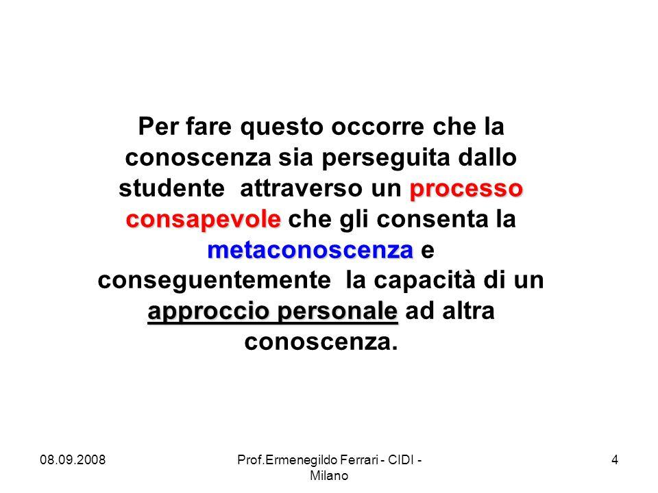 08.09.2008Prof.Ermenegildo Ferrari - CIDI - Milano 4 processo consapevole metaconoscenza approccio personale Per fare questo occorre che la conoscenza